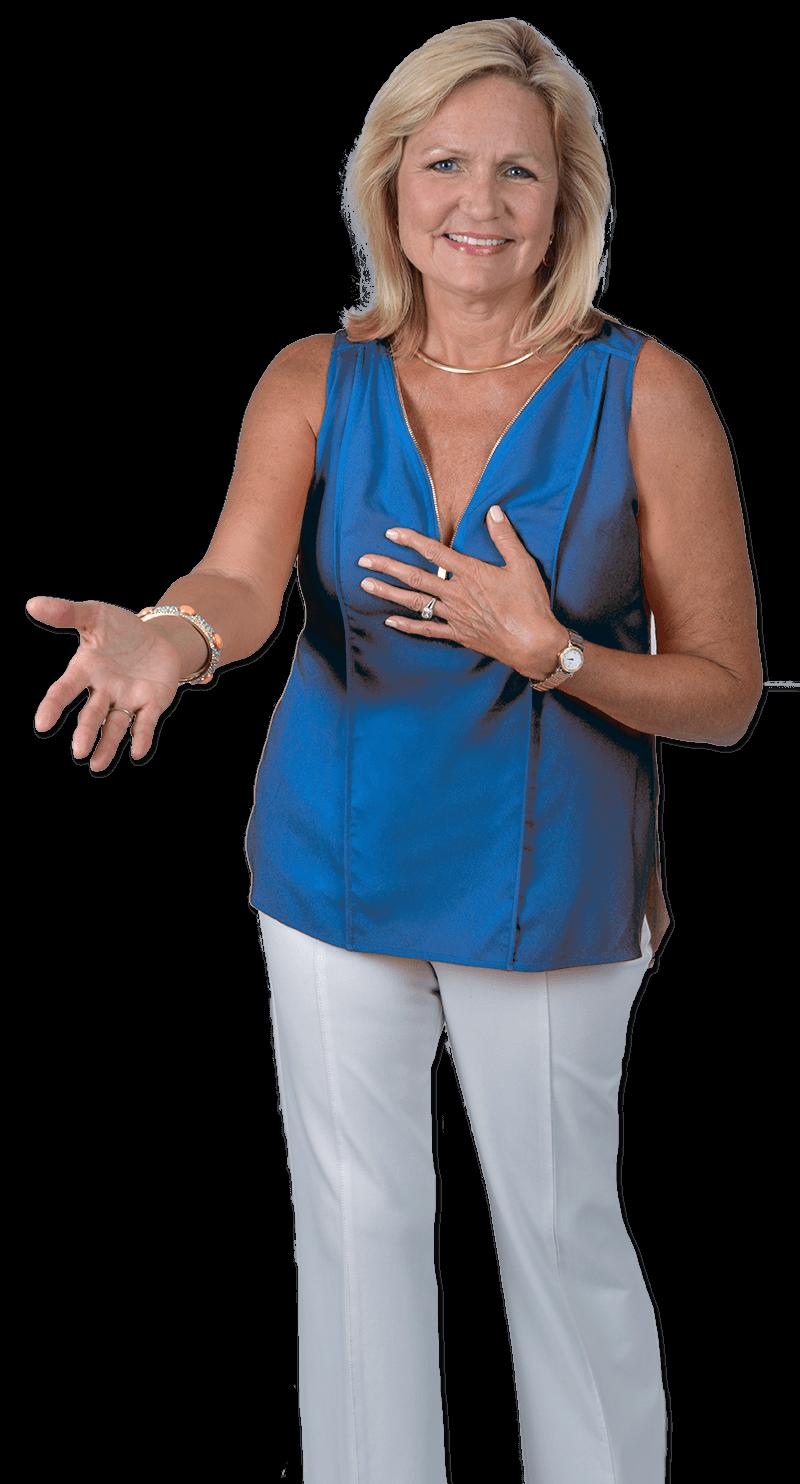 Katana Abbott Cutout With Blue Shirt feeling financial empowerment