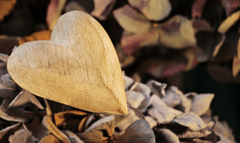 Wooden heart of financial gratitude